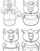 Marionetas del lobo y los tres cerditos
