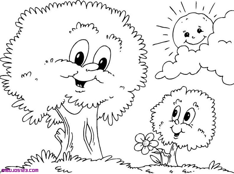 Dibujo para colorear de un bosque - Imagui